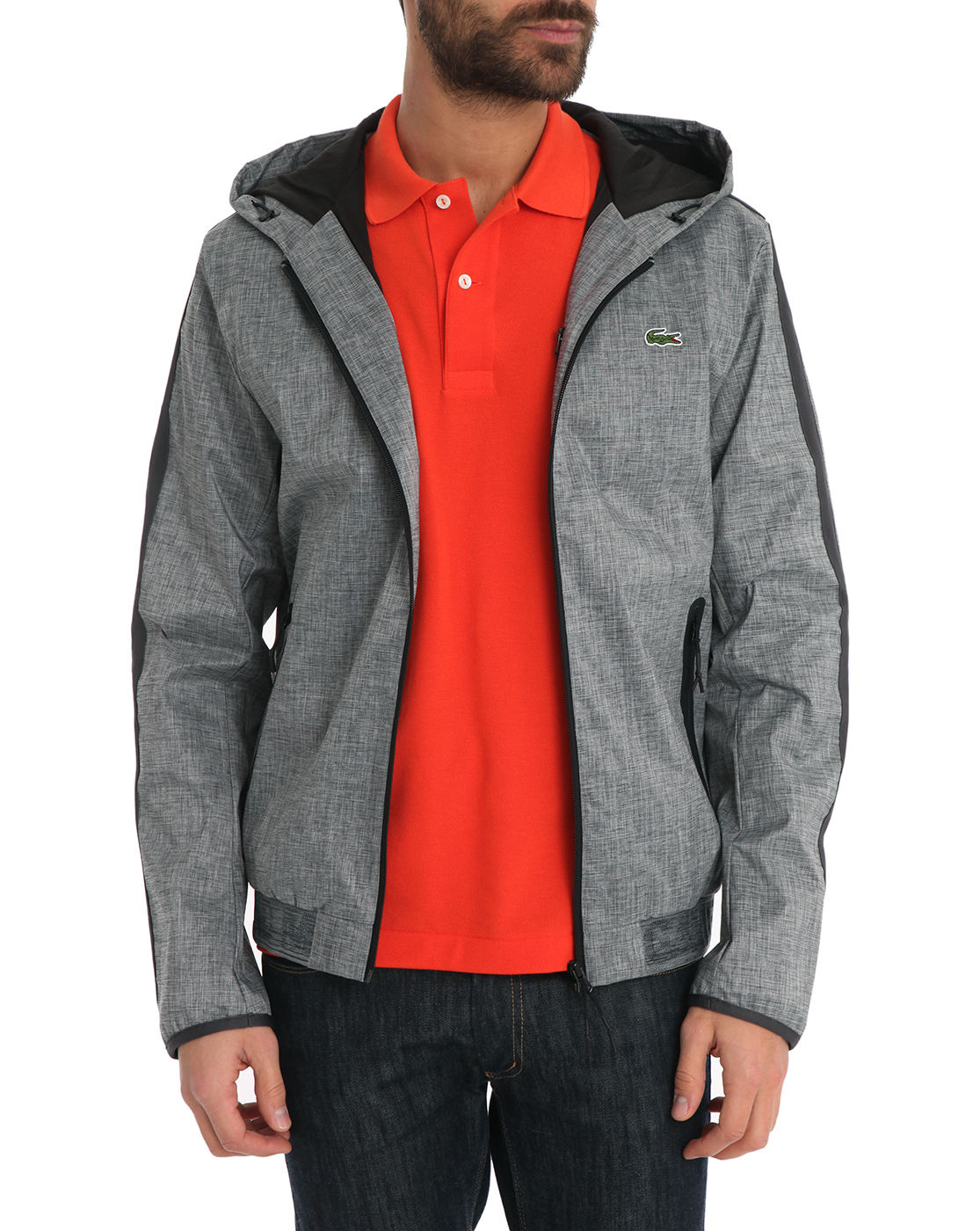 lacoste sport grey nylon jacket in gray for men grey lyst. Black Bedroom Furniture Sets. Home Design Ideas