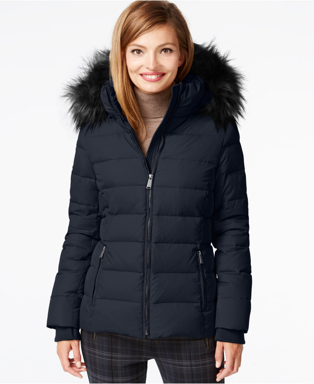 Dkny Hooded Down Puffer Parka Coat in Blue | Lyst