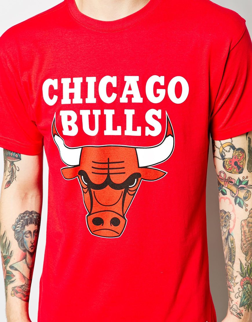lyst mitchell ness chicago bulls logo t shirt in red for men. Black Bedroom Furniture Sets. Home Design Ideas