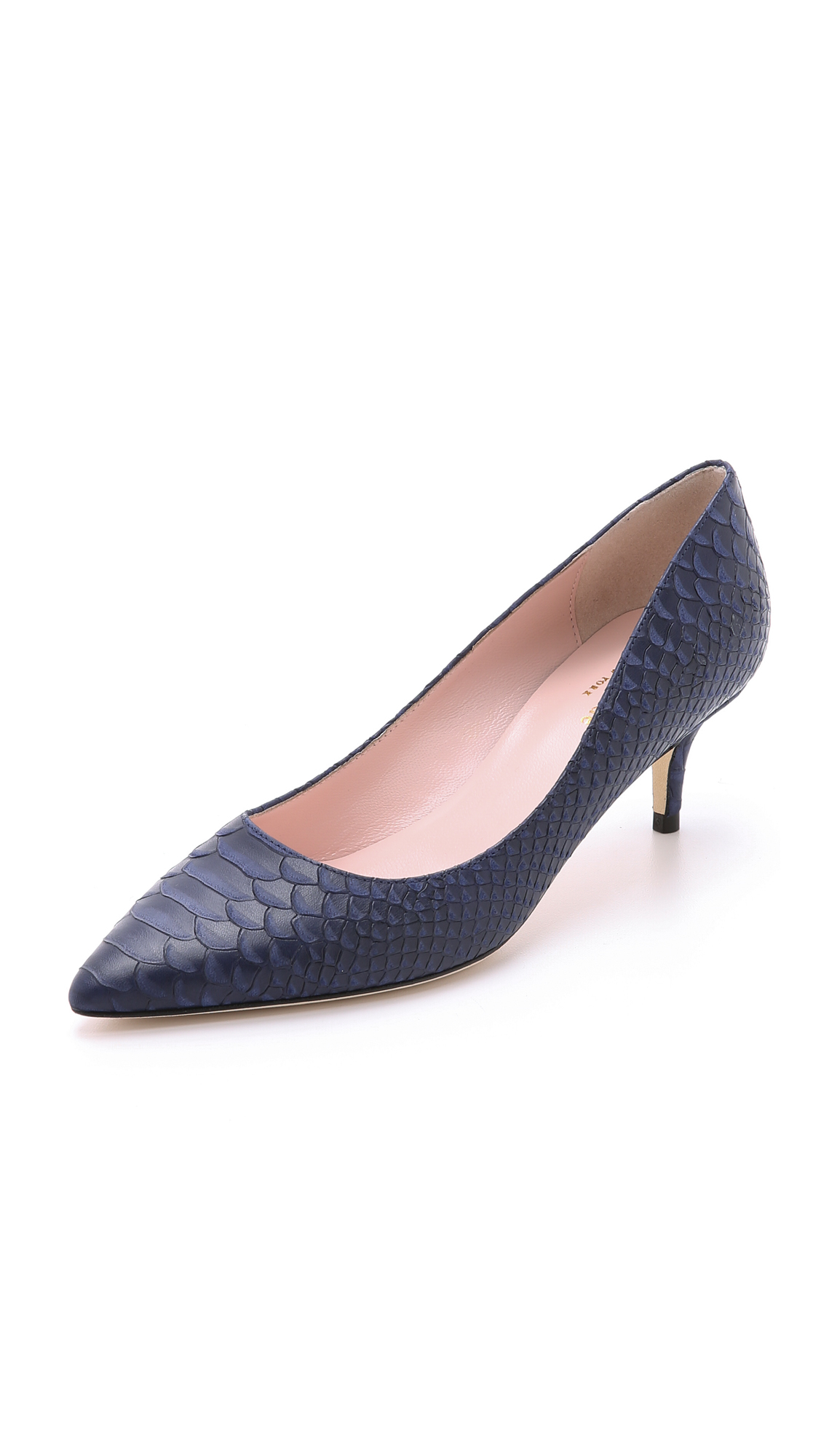 Navy Blue Kitten Heel Pumps - Is Heel
