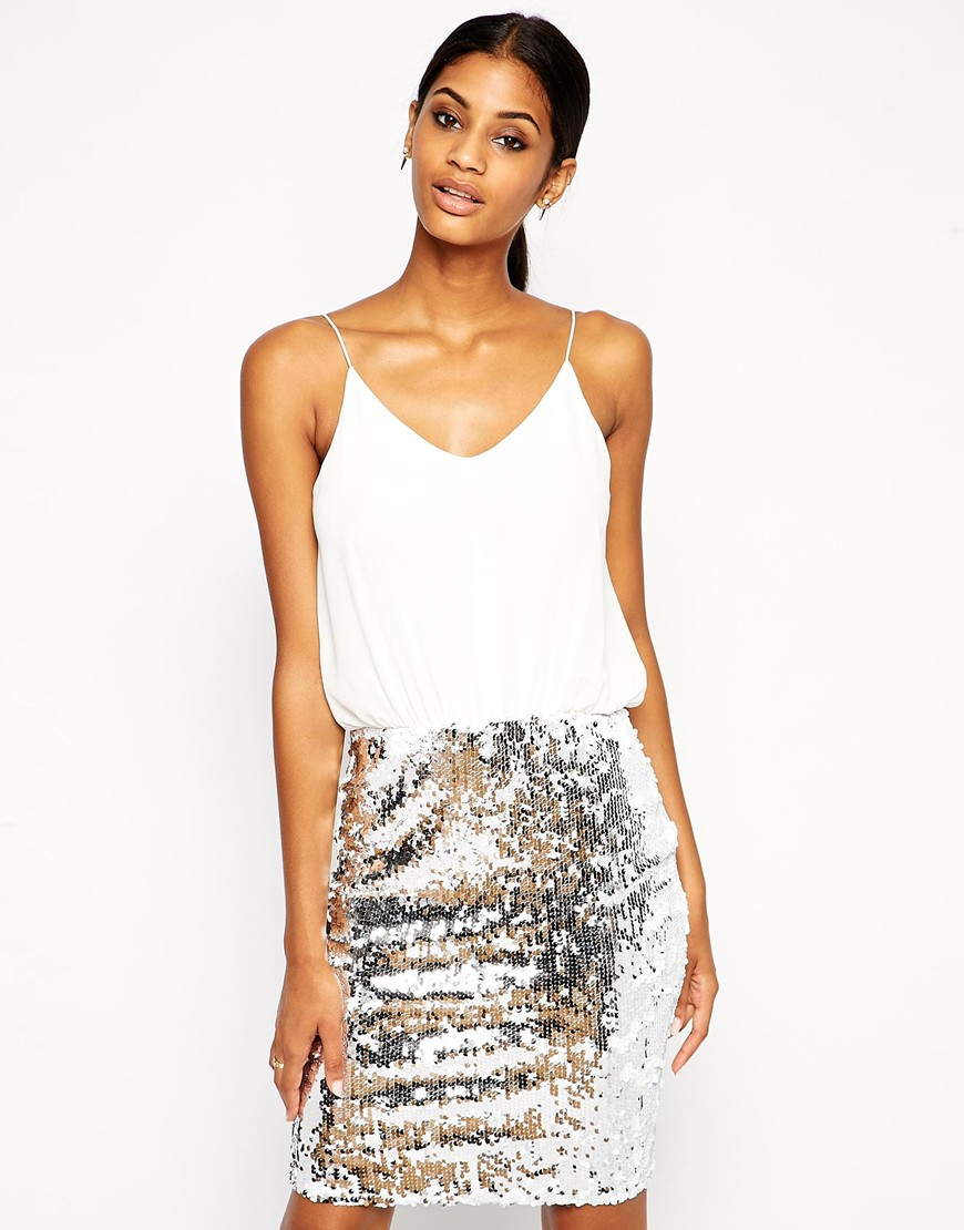 Tfnc london Cami Bodycon Dress With Sequin Skirt in Metallic | Lyst