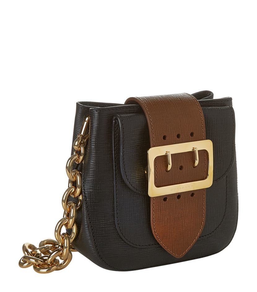 burberry small textured leather belt bag in black lyst