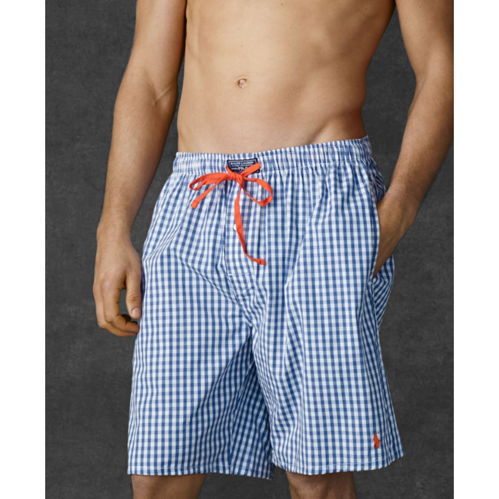 Lyst - Ralph Lauren Polo Mens Gingham Woven Sleep Shorts in Blue for Men 0908de4f4