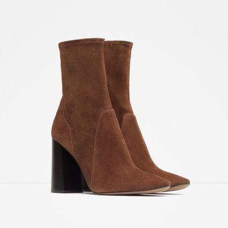 zara high heel suede ankle boots in brown leather lyst