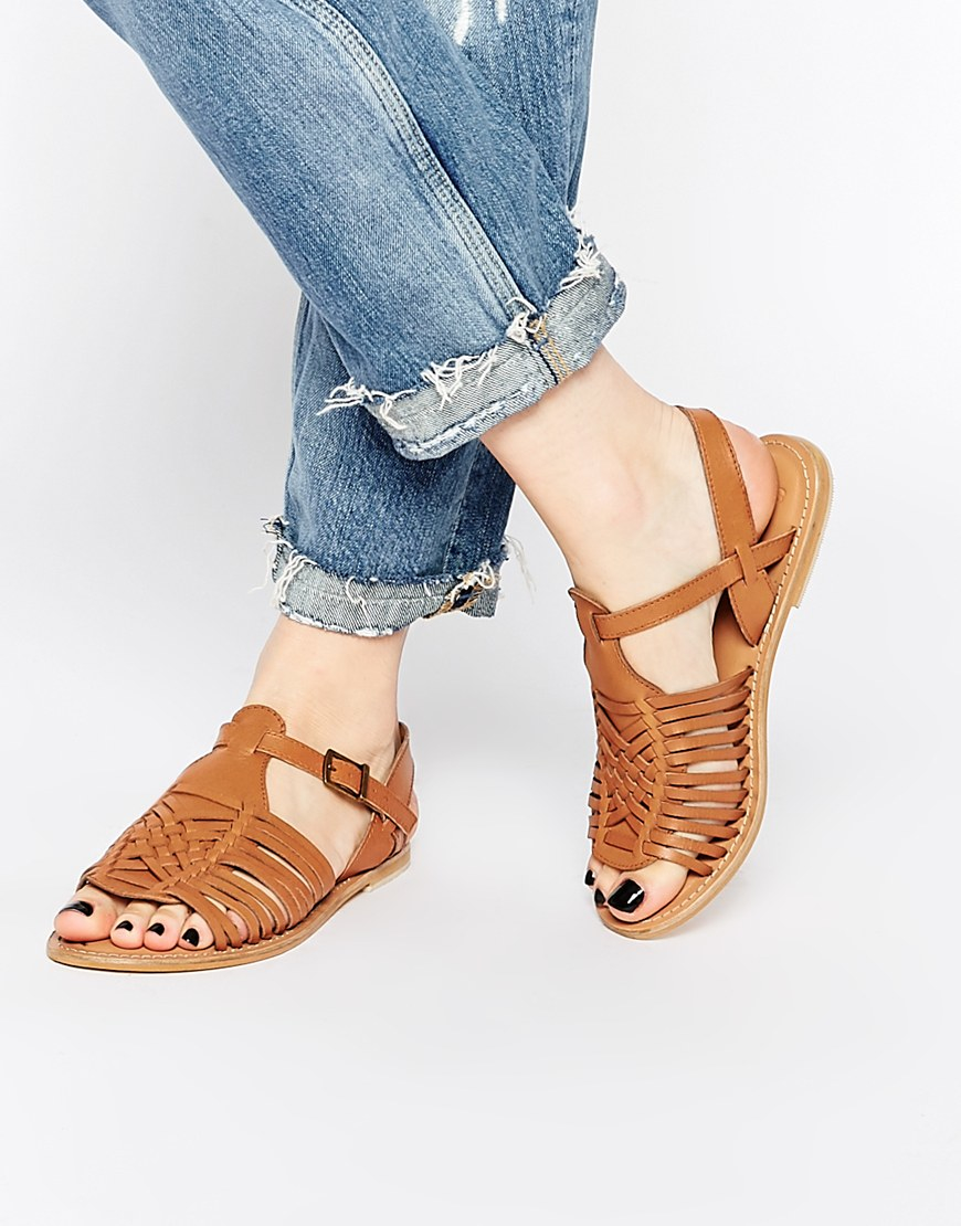 Lyst - ASOS Forest Leather Flat Sandals in Brown