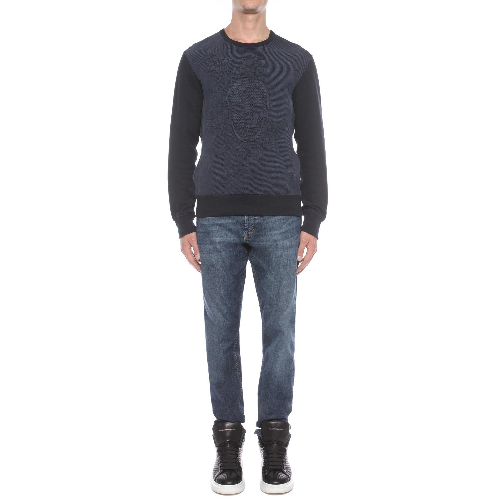 alexander mcqueen jacquard sweatshirt in blue for men navy lyst. Black Bedroom Furniture Sets. Home Design Ideas