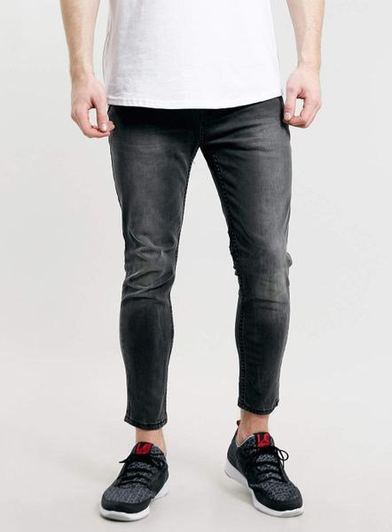 Topman Grey Cropped Stretch Skinny Jeans In Gray For Men