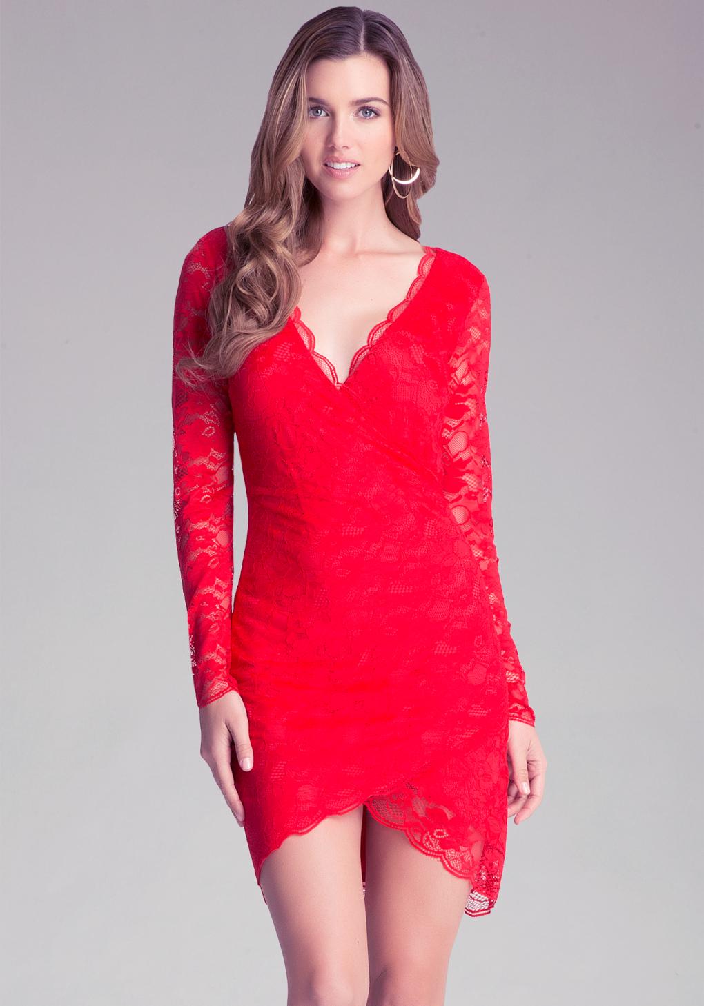 Lyst Bebe Lace Surplice Dress In Red