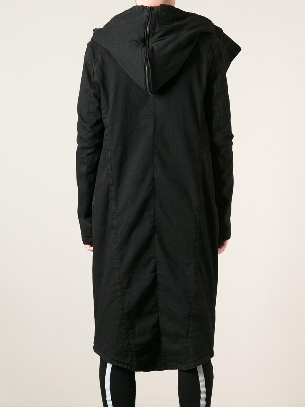 3d663feb9 Julius Black Hooded Long Coat for men
