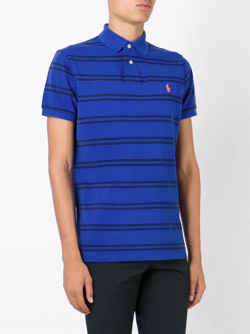 Lyst polo ralph lauren striped polo shirt in blue for men for Blue striped shirt mens