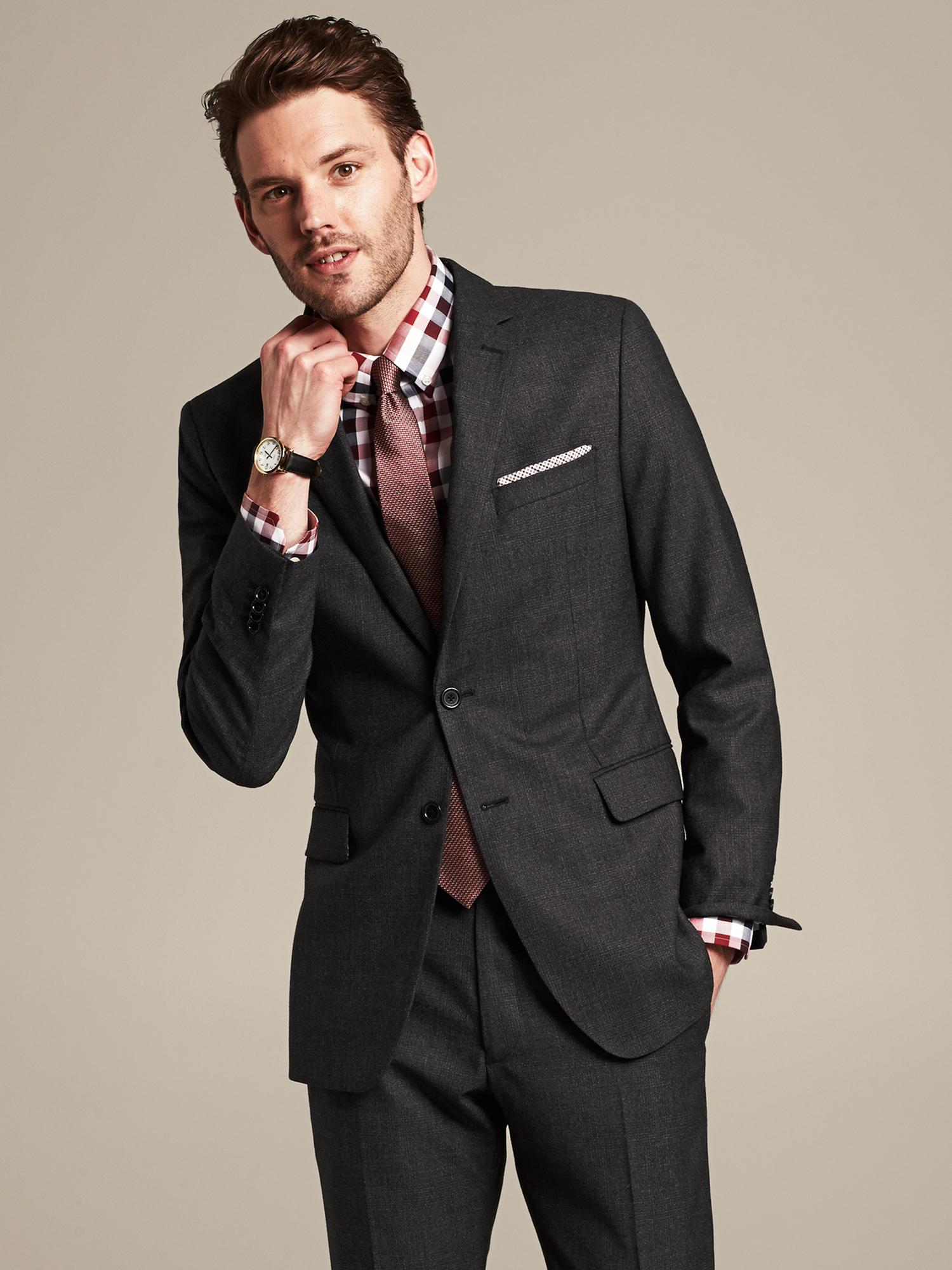 Banana Republic Modern Slim-Fit Charcoal Plaid Wool Suit ...