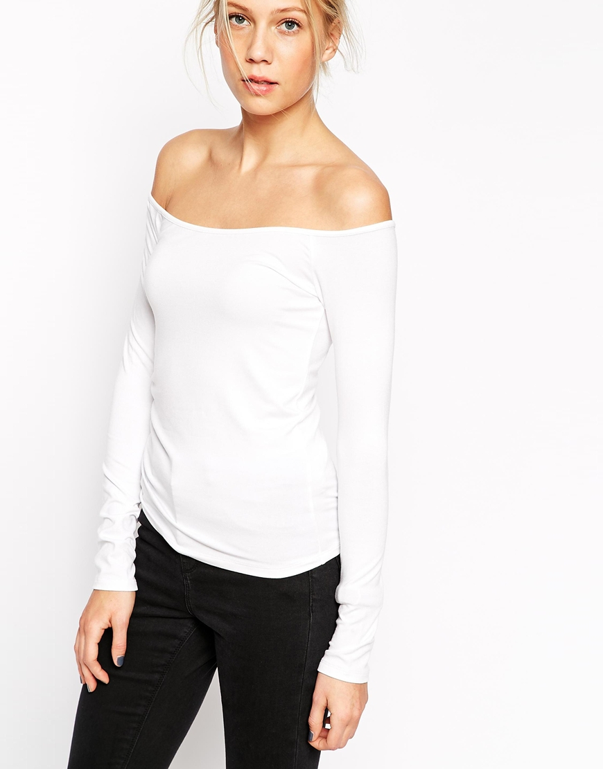 0d7cbcac92e74f Lyst - ASOS Off Shoulder Top With Long Sleeves in White