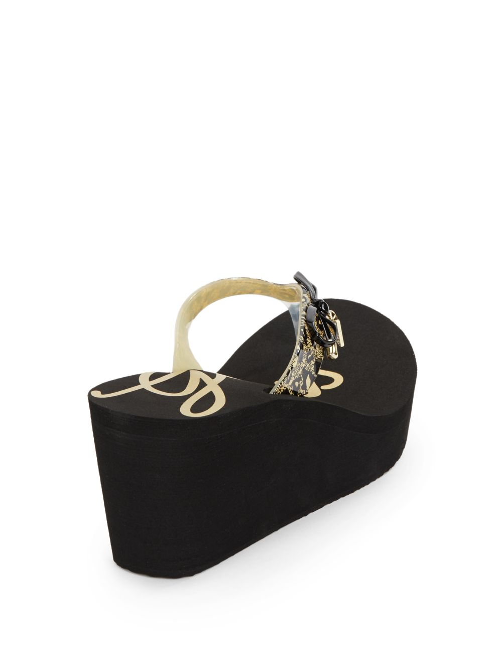 c74f62eae ... Lyst - Guess Syona Leopard-Print Bow Platform Wedge Sandals in Black  fashion style 27798 ...