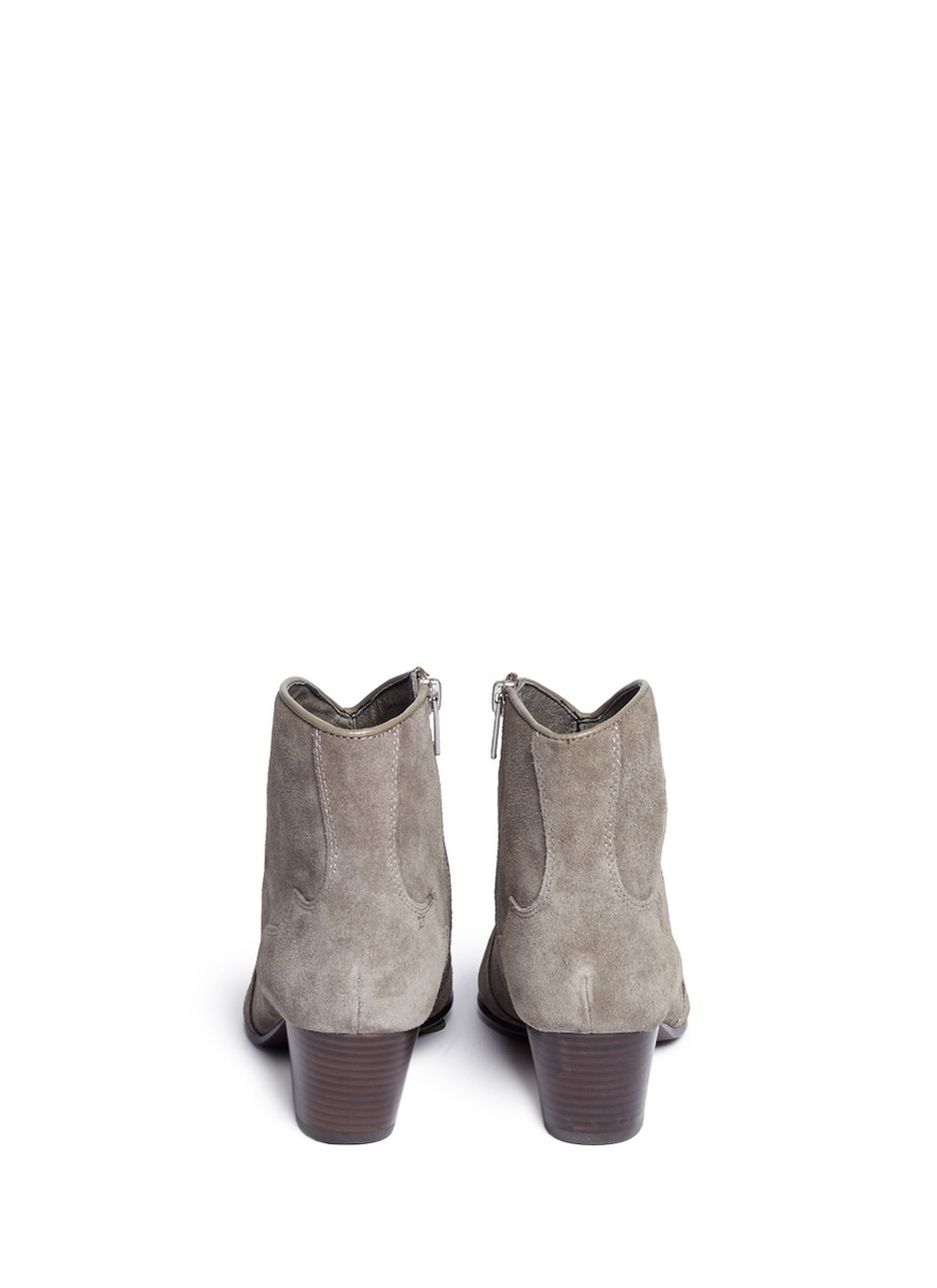 ash hurrican suede cowboy ankle boots in gray lyst