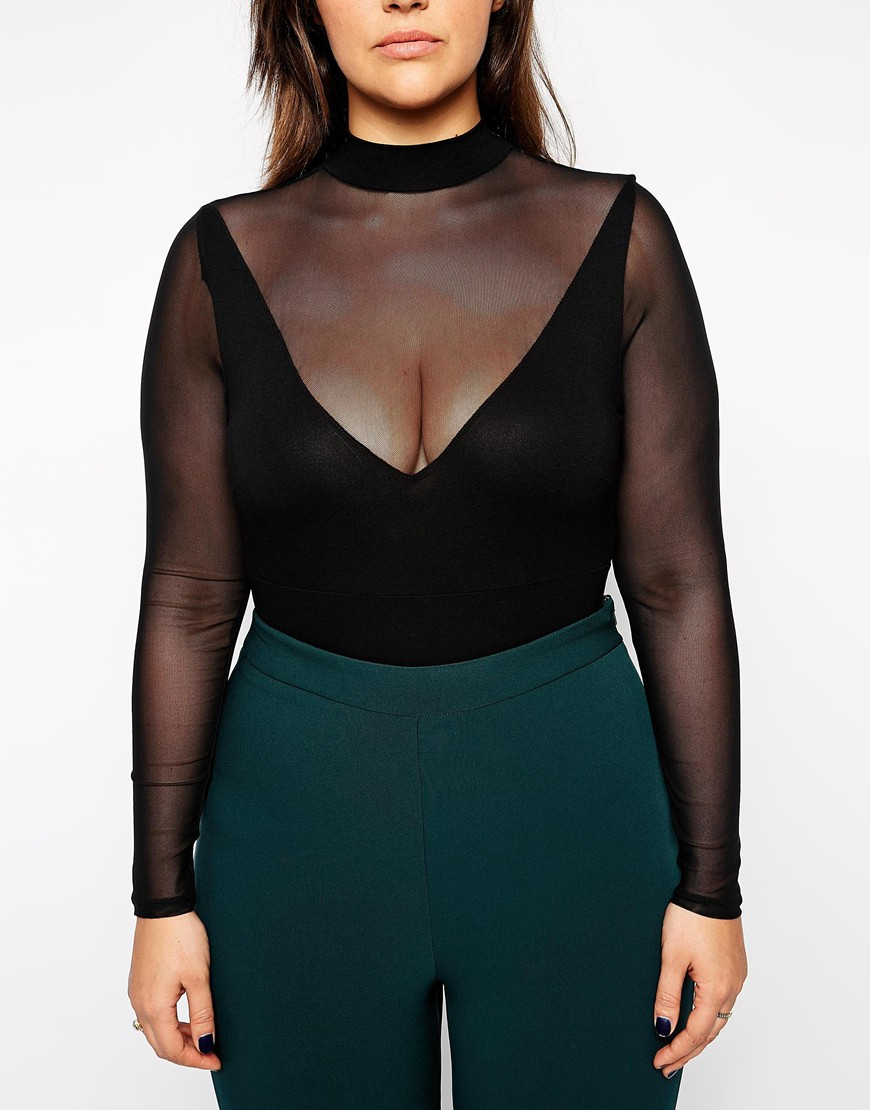 Asos Curve Body With Mesh Insert And Long Sleeves In Black -4490