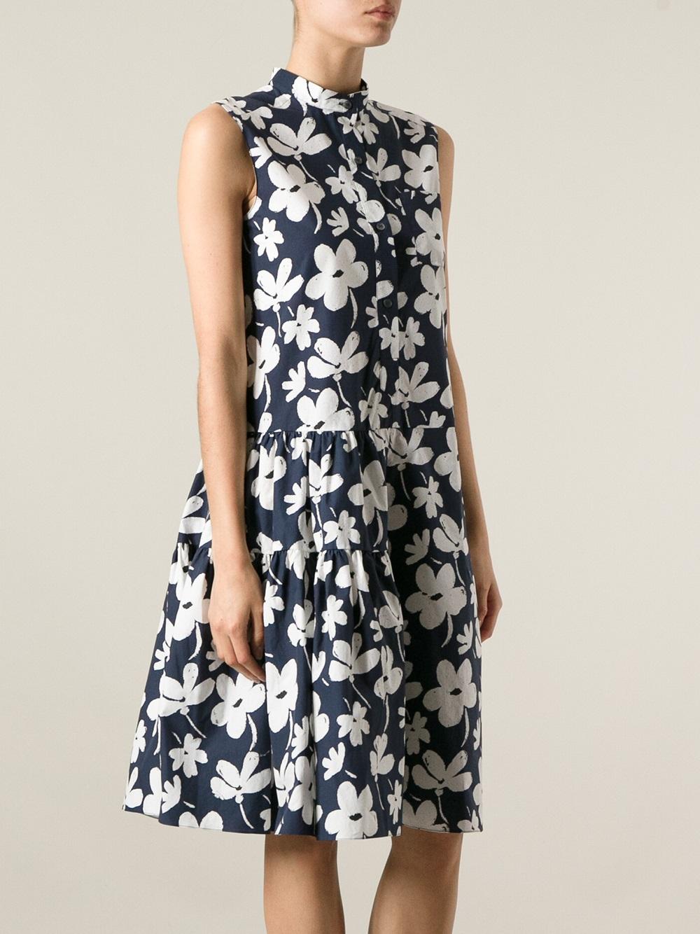 Lyst Marni Floral Print Dress In Blue