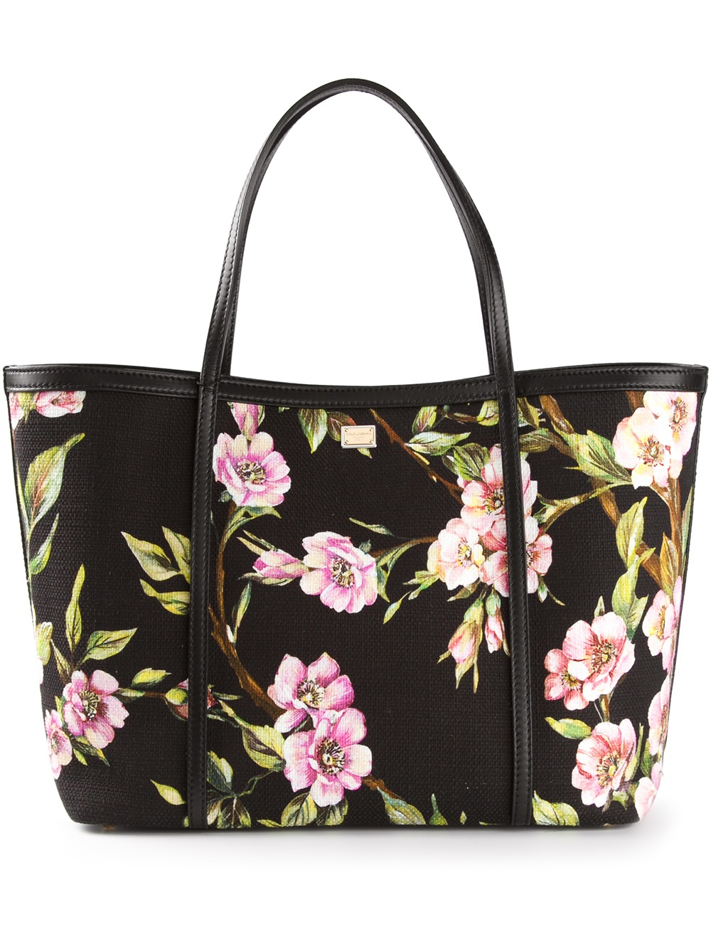 657832c77a Lyst - Dolce   Gabbana Large Floral Print Tote in Black