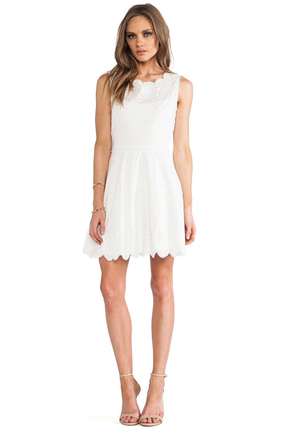 Lyst Halston Eyelet Fit Amp Flare Dress In White