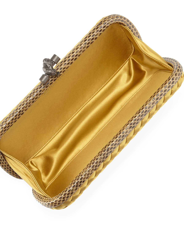0f0691fd08d Lyst - Bottega Veneta Satin Elongated Knot Clutch Bag