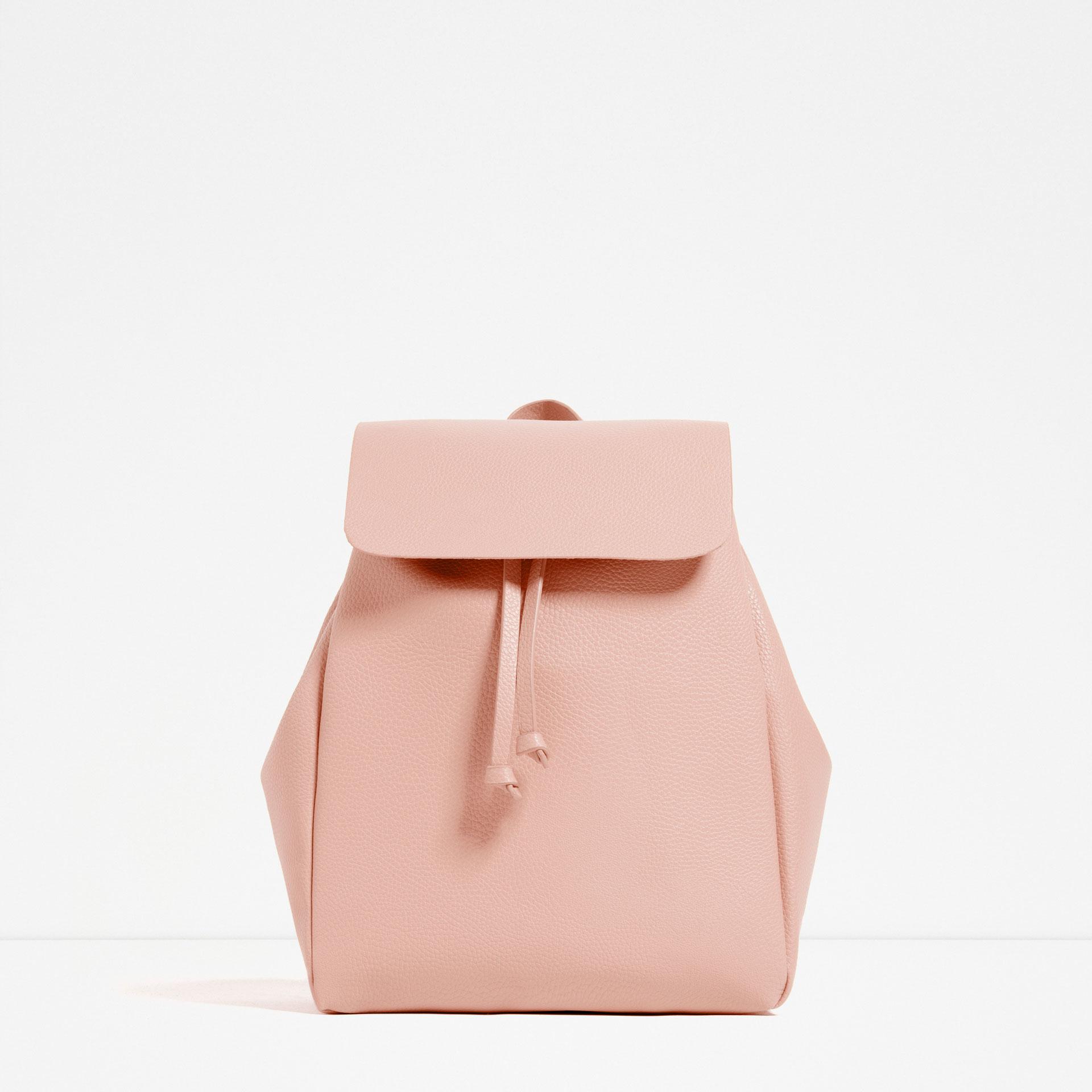 zara foldover flap backpack in pink lyst. Black Bedroom Furniture Sets. Home Design Ideas