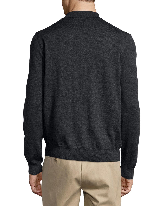 Lyst neiman marcus wool long sleeve polo shirt in black for Long sleeve wool polo shirts