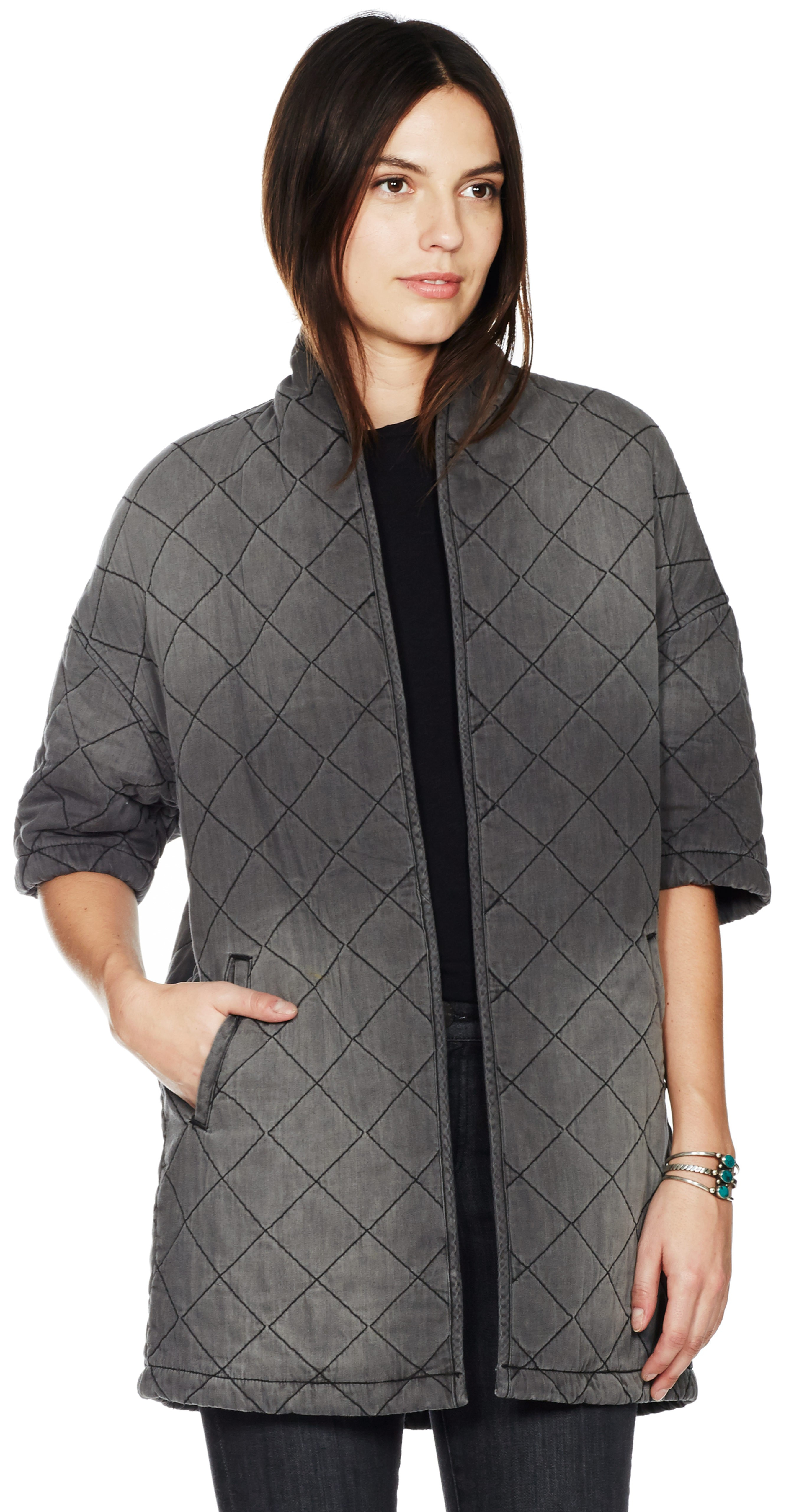 Current/elliott The Quilted Car Coat in Gray | Lyst