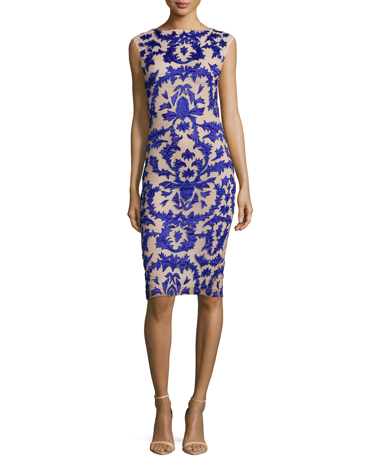 Alice + Olivia Synthetic Tamika Embellished Sheath Dress ...
