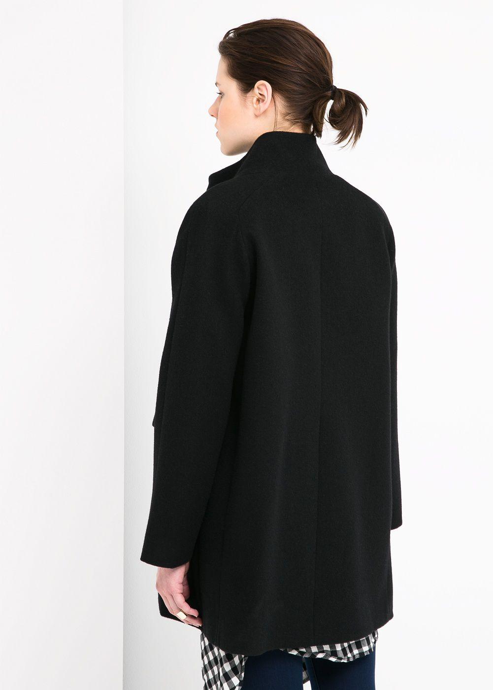 Mango Cotton Wool Blend Coat in Black | Lyst