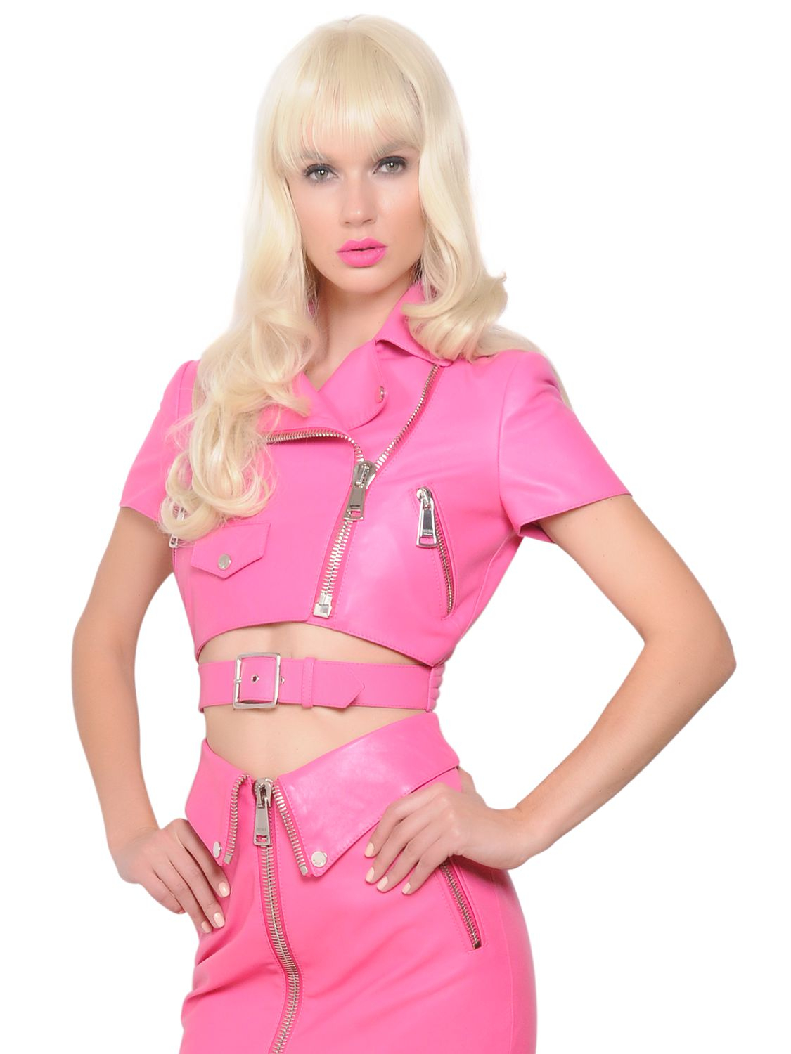 Lyst - Moschino Short Sleeve Cropped Leather Jacket in Pink