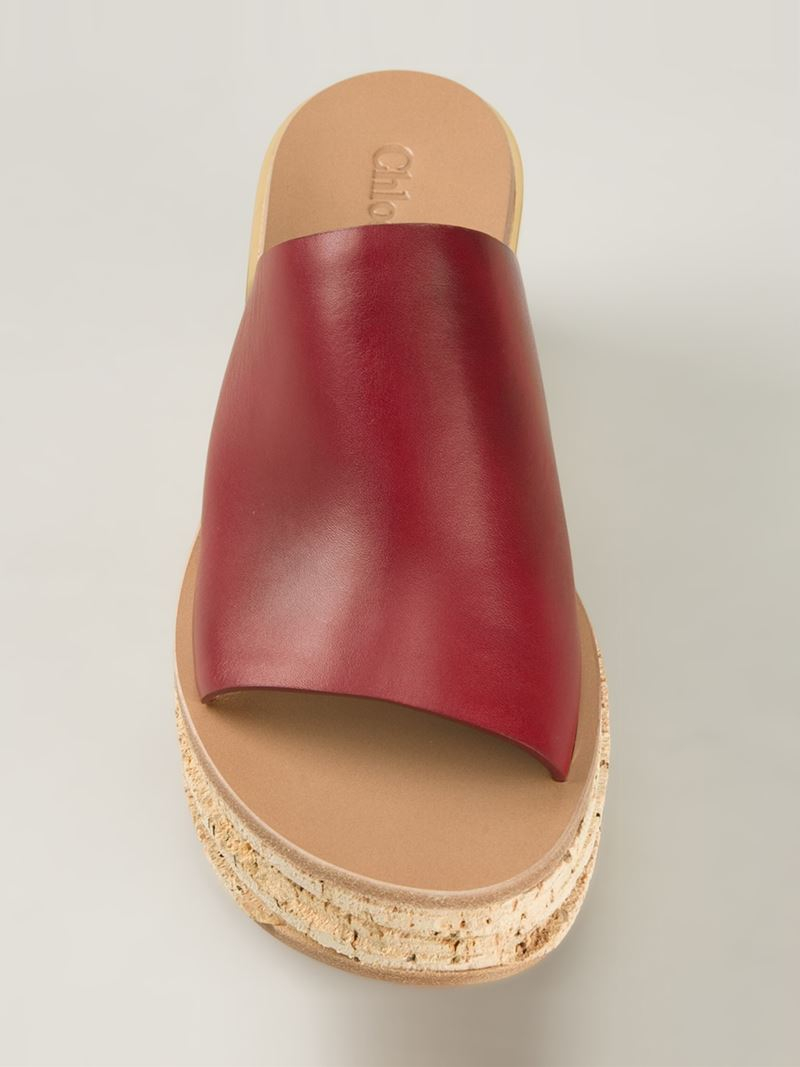 e11b349cac Chloé Red 'Camille' Wedge Mules
