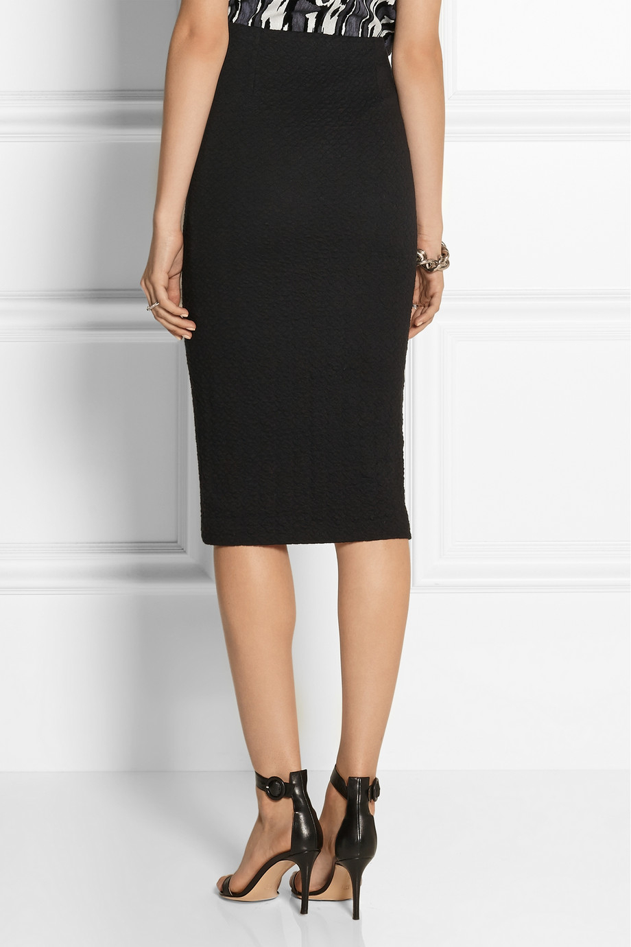 karl lagerfeld nila quilted cotton blend midi skirt in