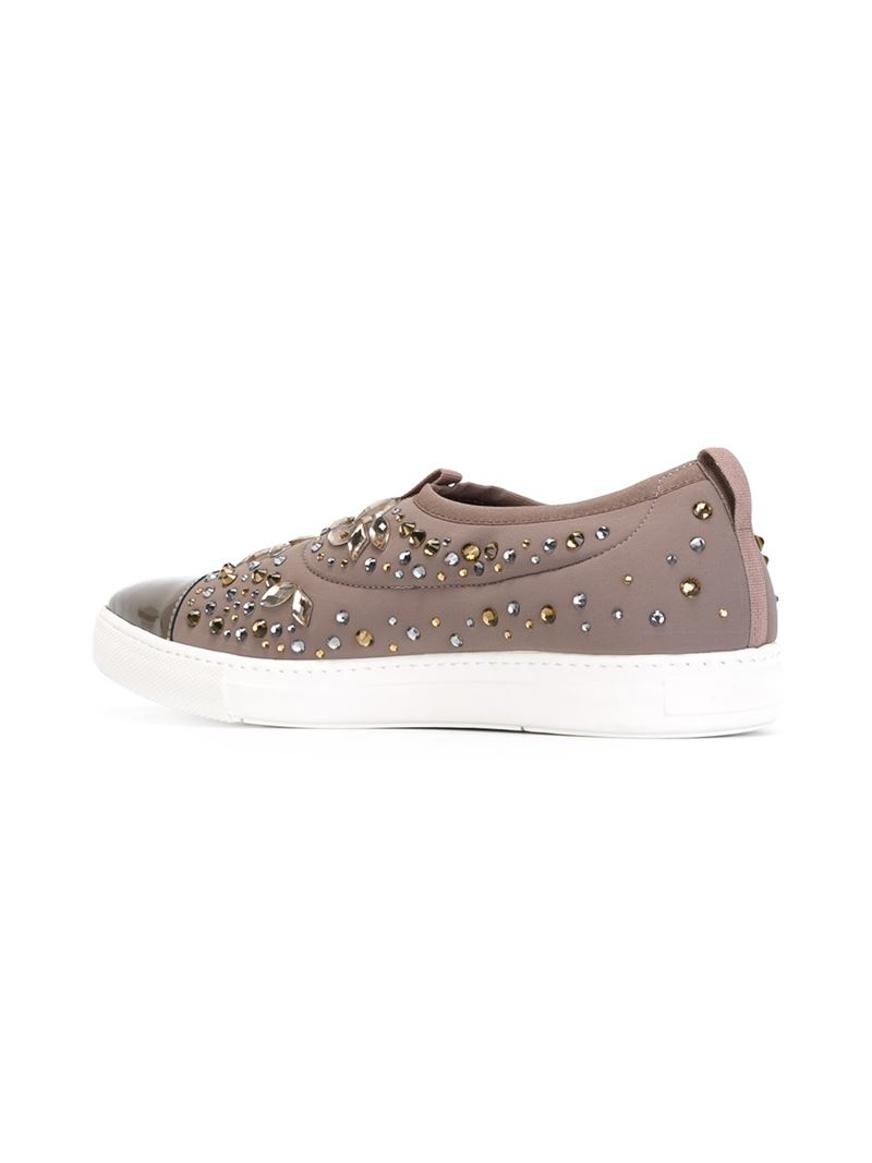 Alberto Guardiani Embellished Slip-on Sneakers in Grey (Grey)