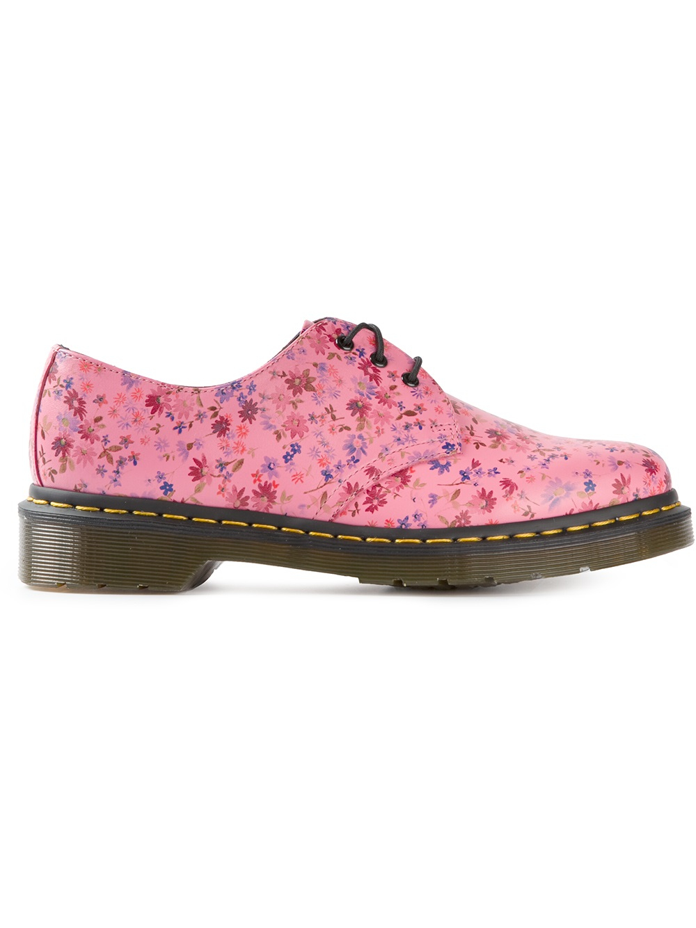 dr martens floral print derby shoes in pink lyst