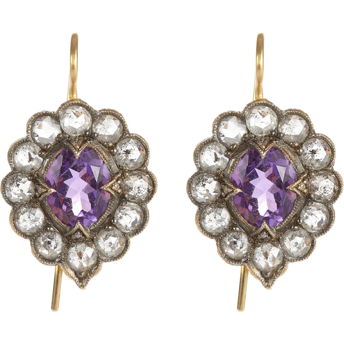 cathy waterman scalloped drop earrings in purple lyst