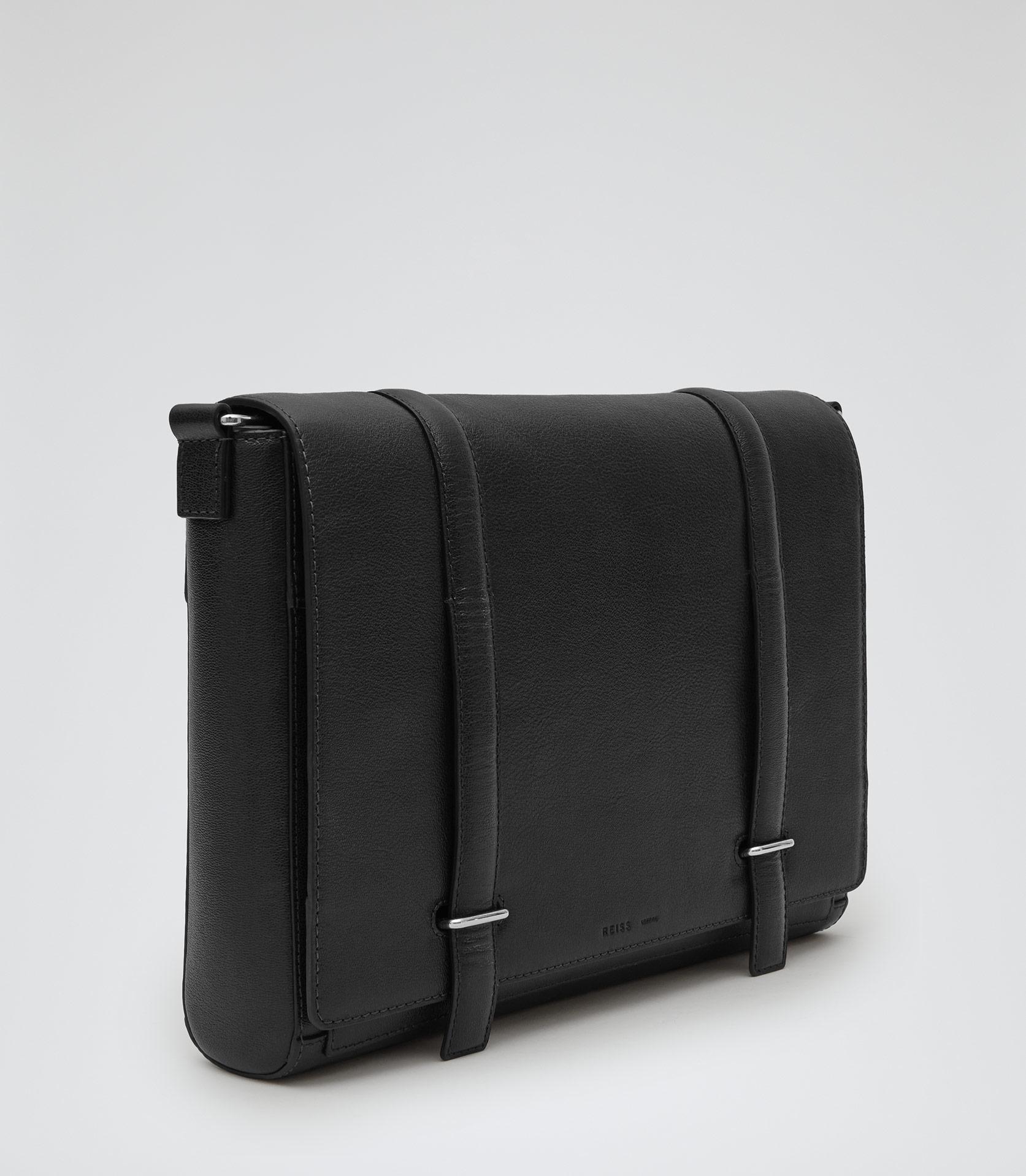 Lyst Reiss Salvatrucha Leather Messenger Bag In Black