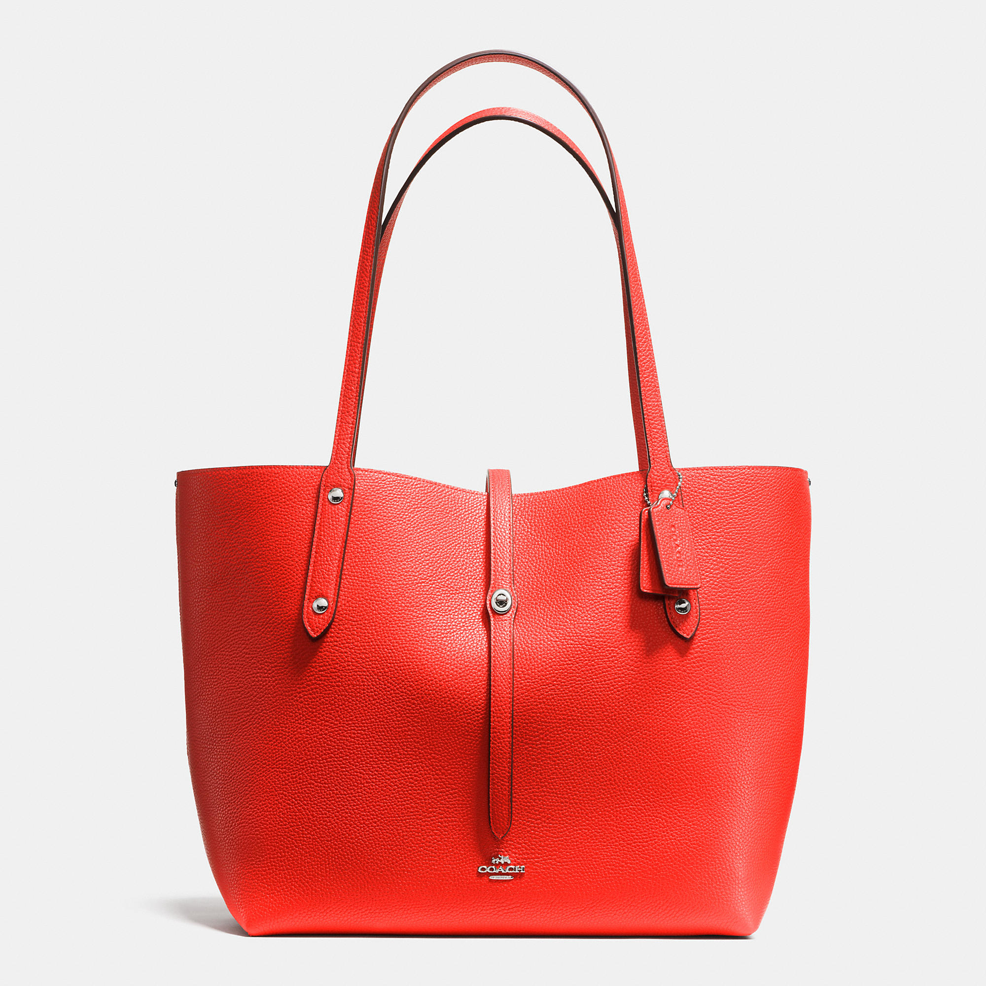 2d493d66a7 COACH Metallic Market Tote In Refined Pebble Leather