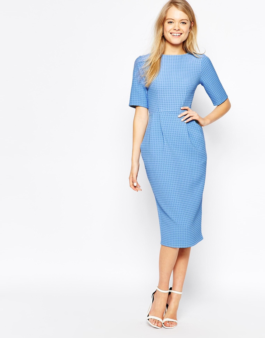 Lyst Asos Textured Wiggle Dress In Blue
