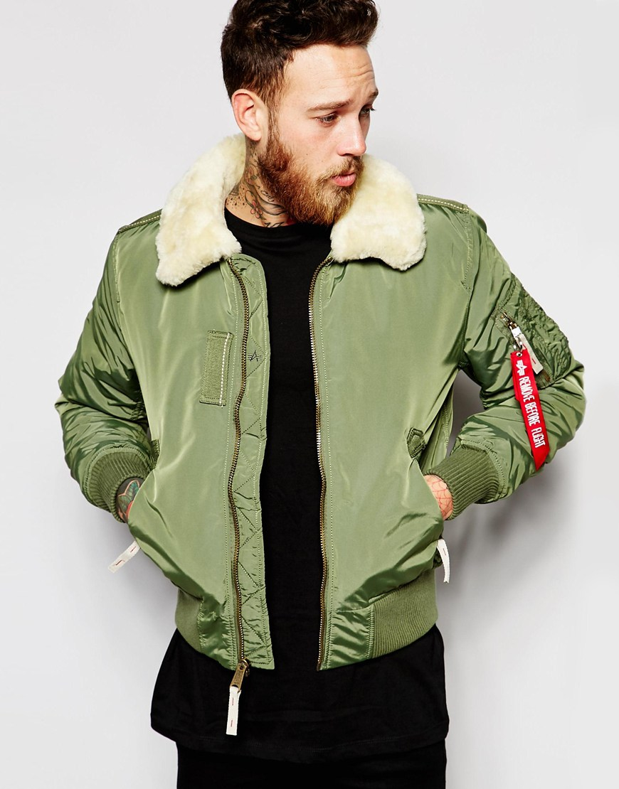 alpha industries shearling trimmed bomber jacket in green for men lyst. Black Bedroom Furniture Sets. Home Design Ideas