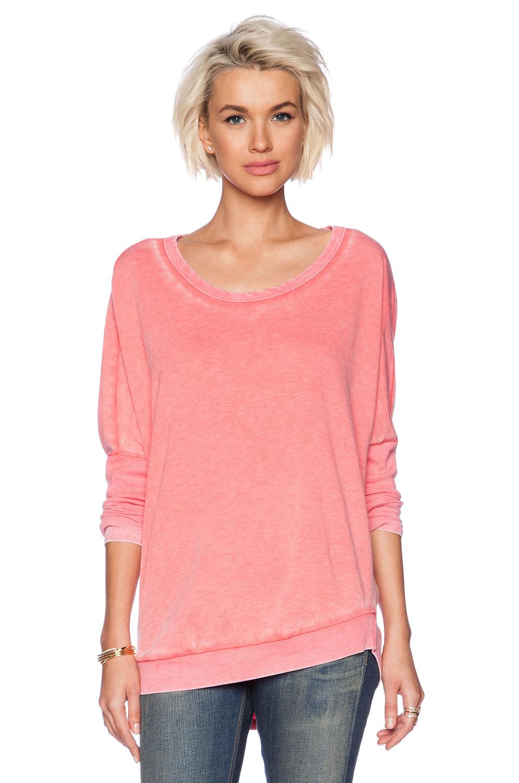 chaser drape back pullover in pink coral pink lyst. Black Bedroom Furniture Sets. Home Design Ideas