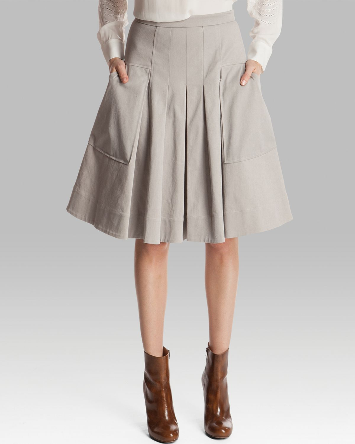 Lyst Halston Skirt Full Twill With Pockets In Gray