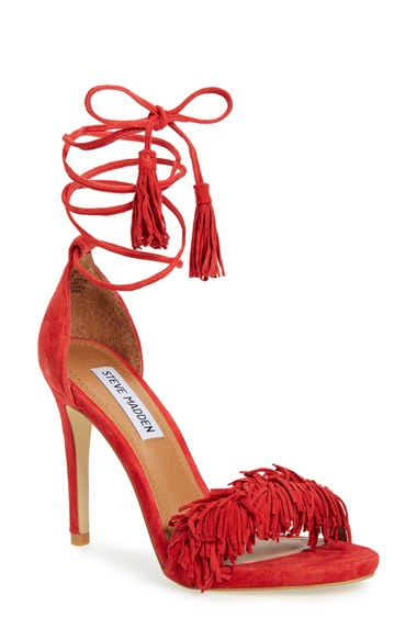 Steve Madden Sassey Fringed Suede Sandals In Red Lyst