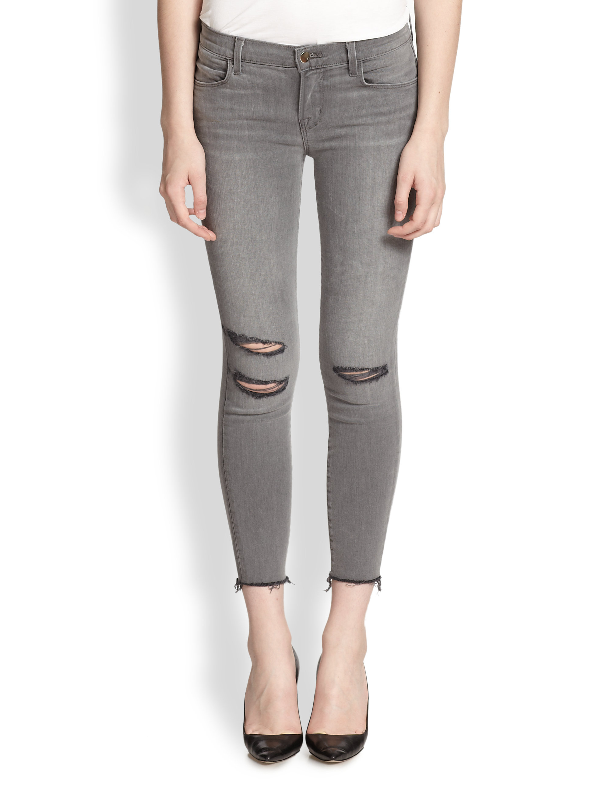 J brand Photoready Distressed Cropped Skinny Jeans in Gray | Lyst
