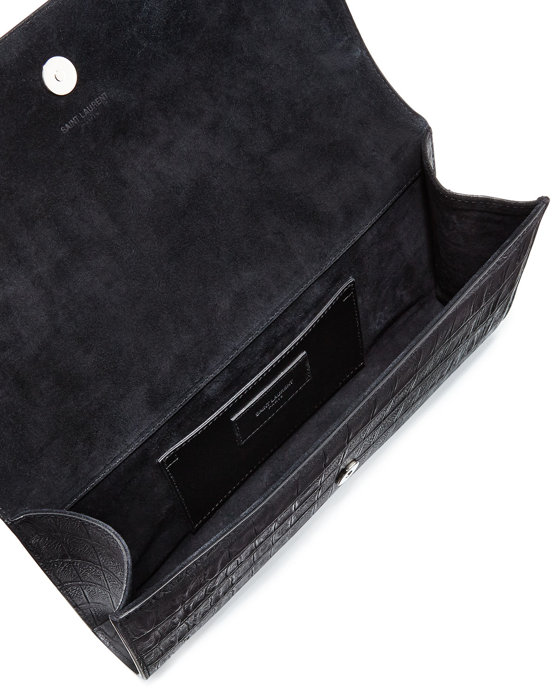 Grain 5/6 Croc-stamped Flap Clutch Bag, Black