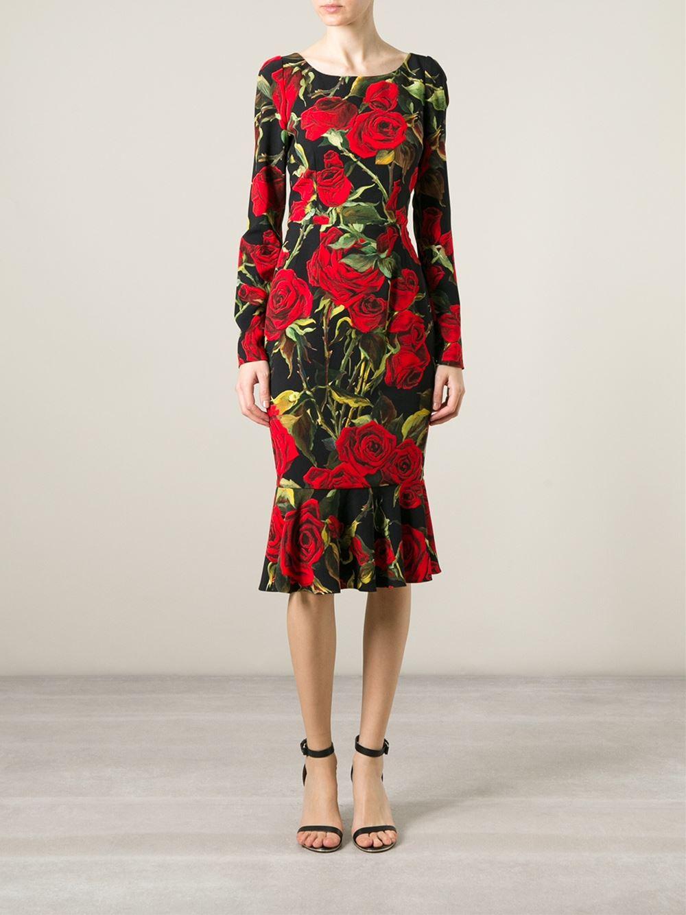 Dolce & Gabbana Rose Print Dress in Red - Lyst