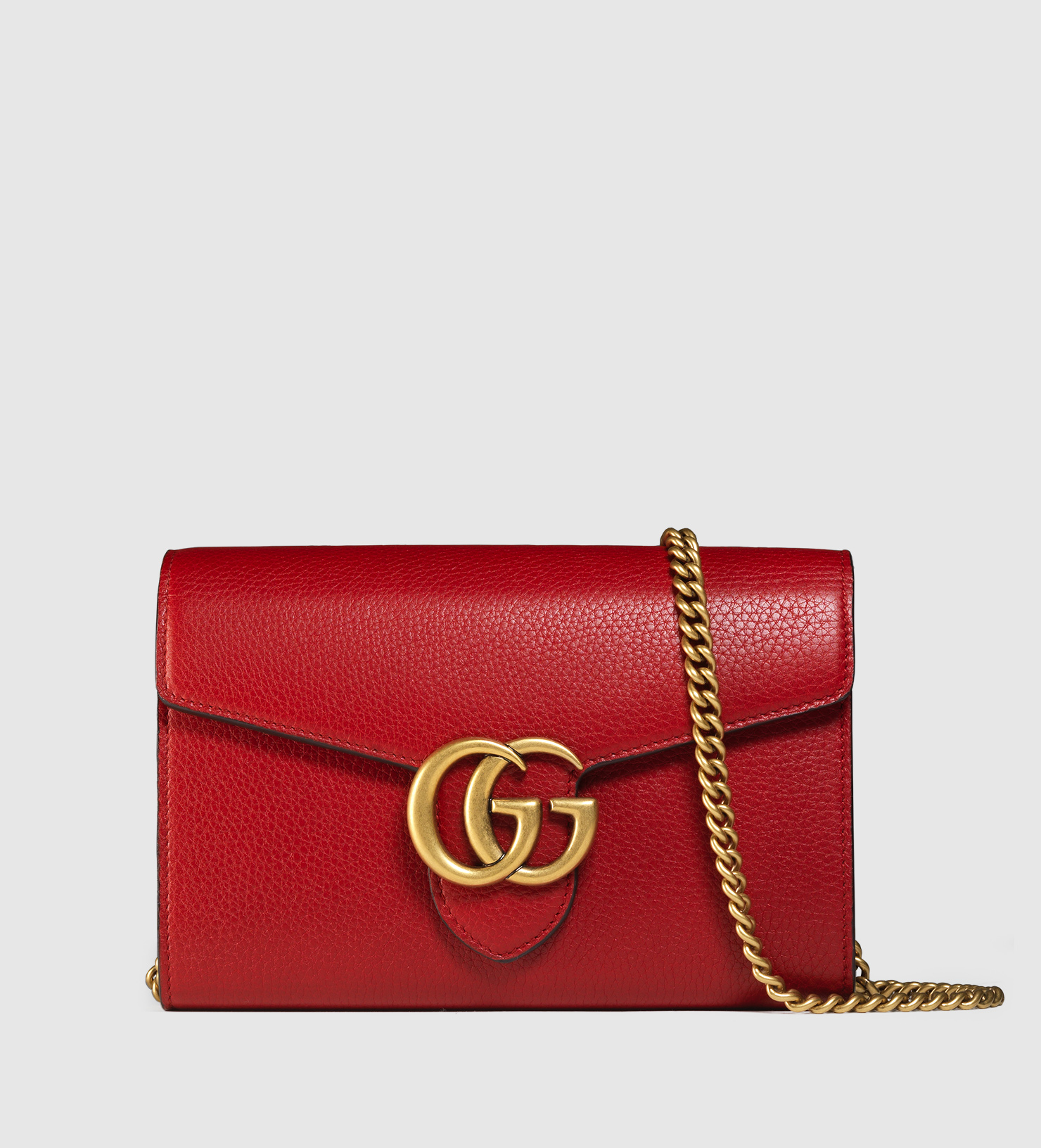 a342113c262b Gucci Gg Marmont Leather Chain Wallet in Red - Lyst