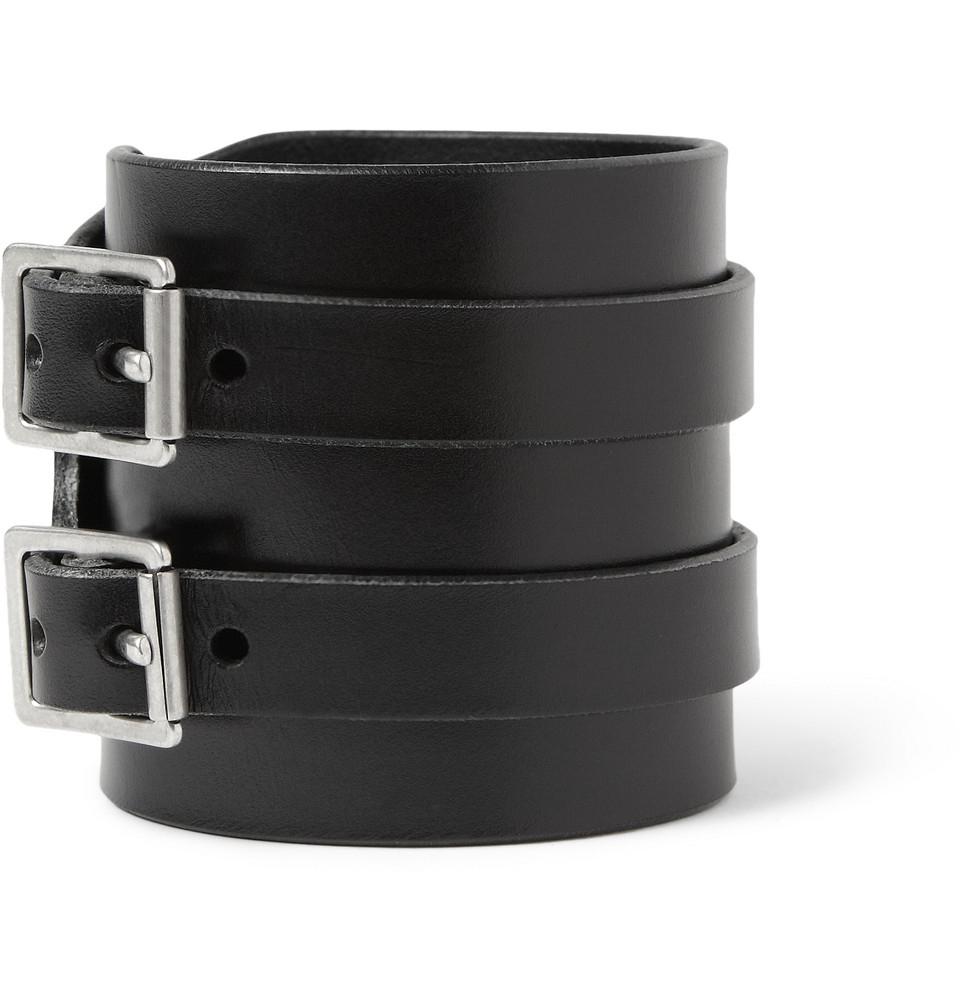 ca62dd468c980 Saint Laurent Black Double-Buckle Leather Cuff for men