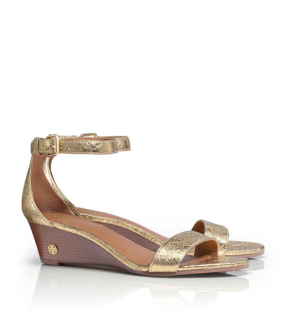 bcd8f514d Tory Burch Savannah Metallic Wedge Sandal in Metallic - Lyst