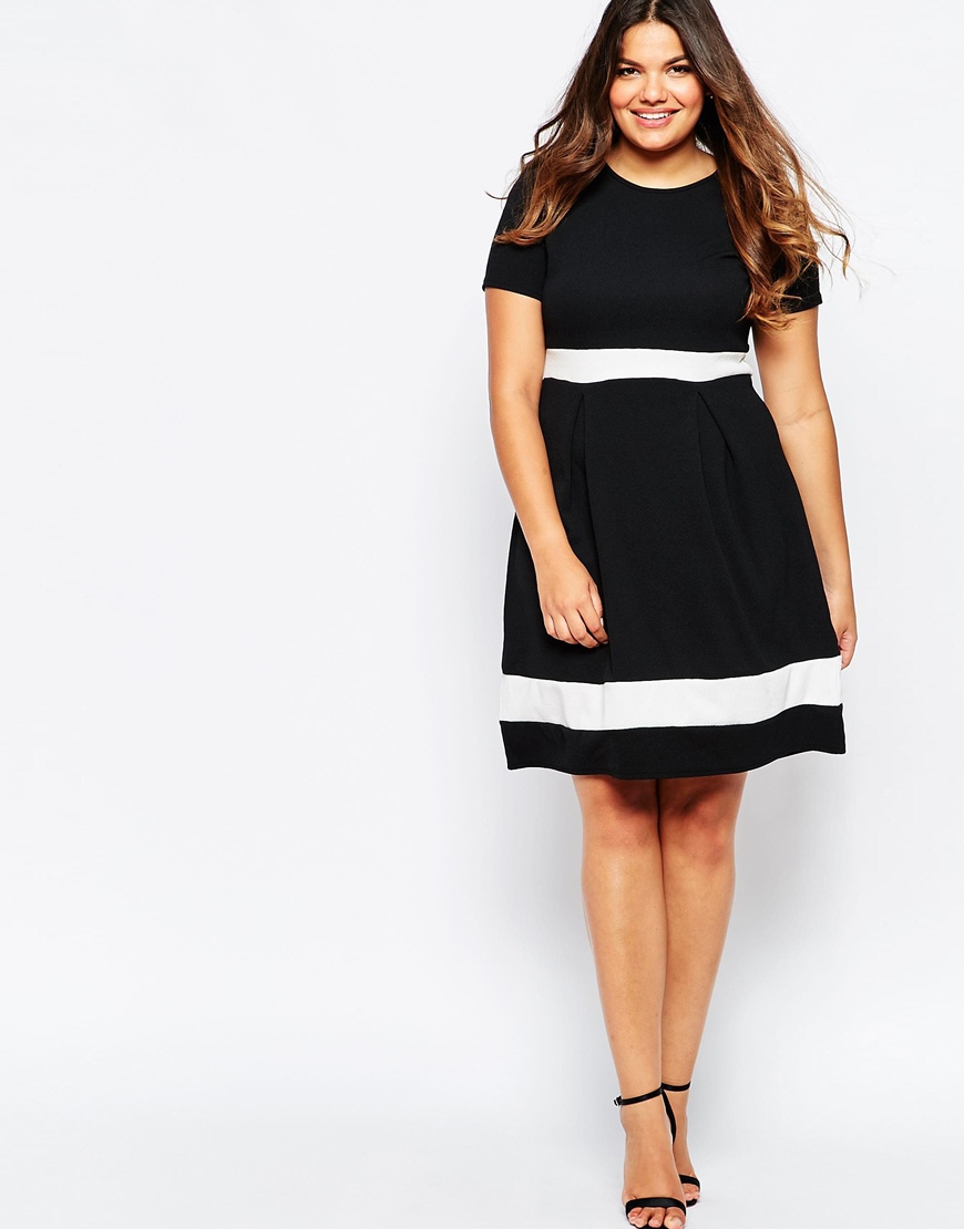 Black And White Plus Size Skater Dress - Gomes Weine AG