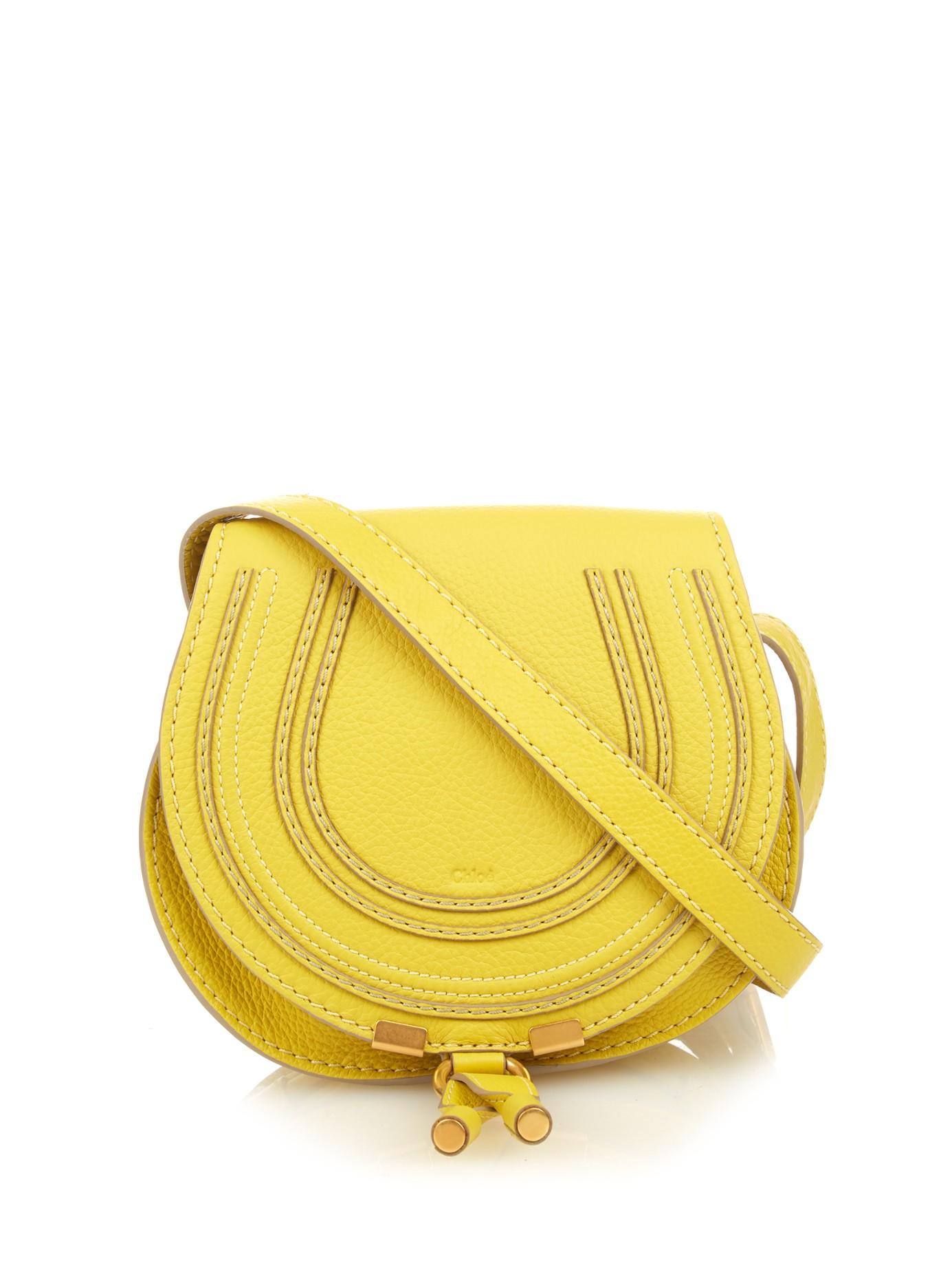 f947921e56 Chloé Marcie Mini Leather Cross-body Bag in Yellow - Lyst