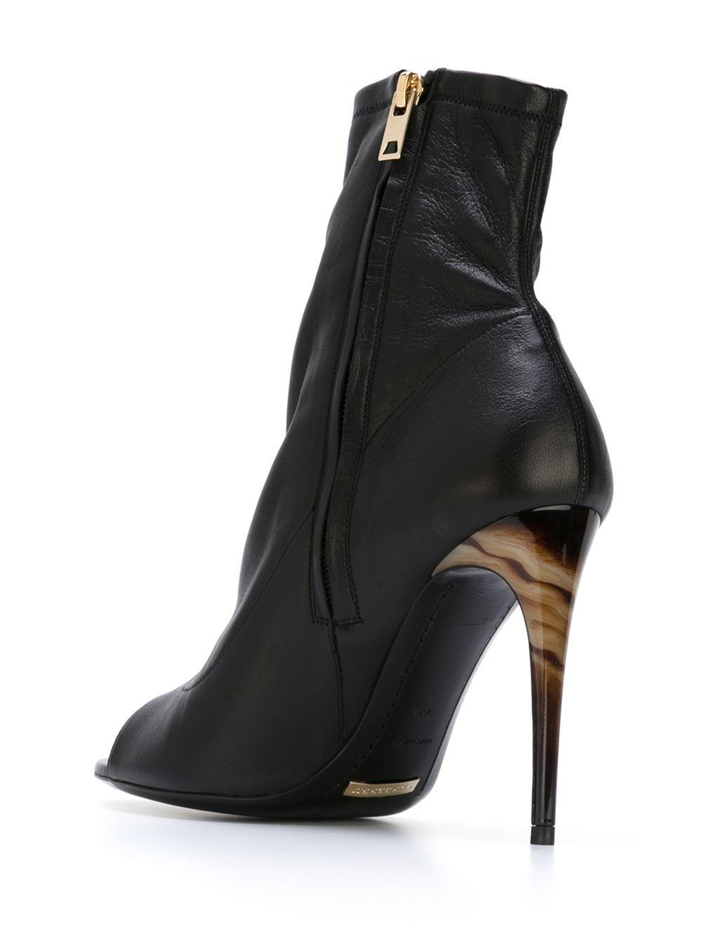 Burberry Prorsum Peep Toe Booties In Black Lyst